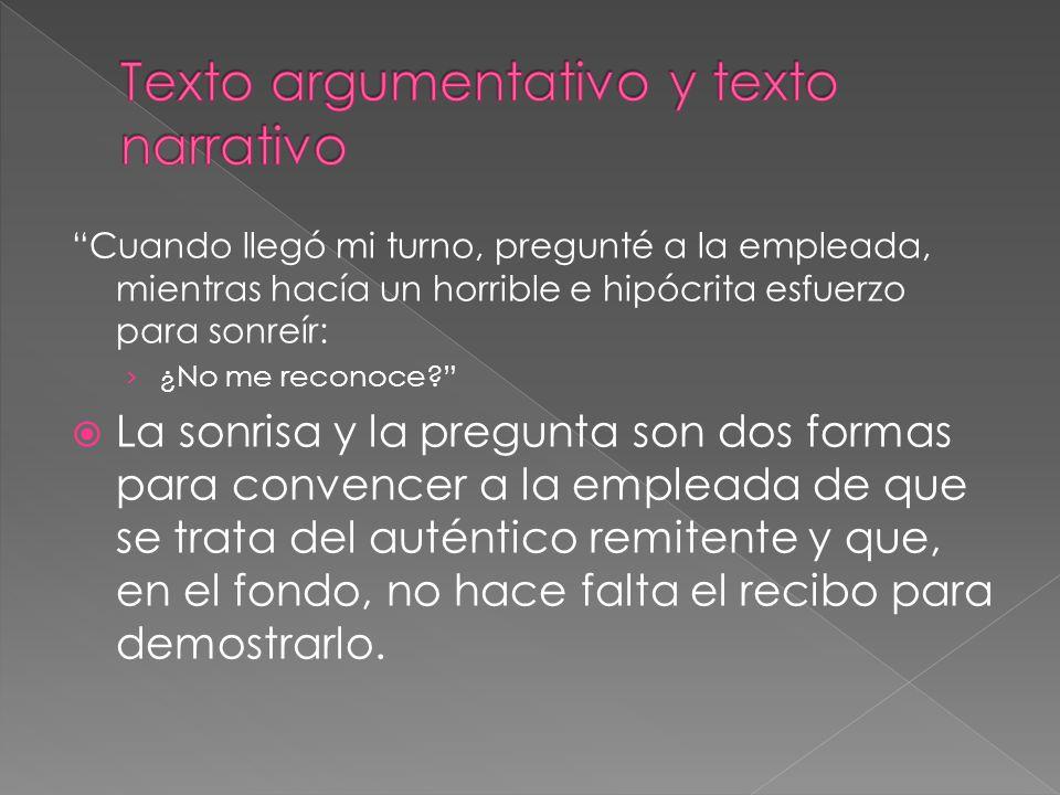 Texto argumentativo y texto narrativo