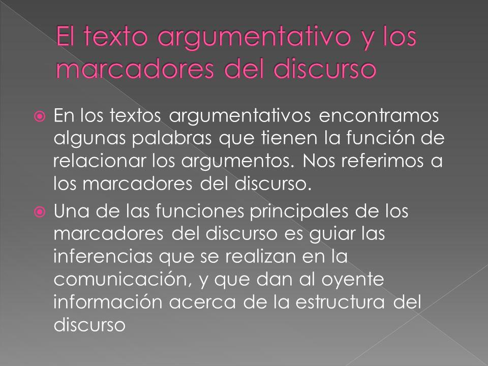 El texto argumentativo y los marcadores del discurso