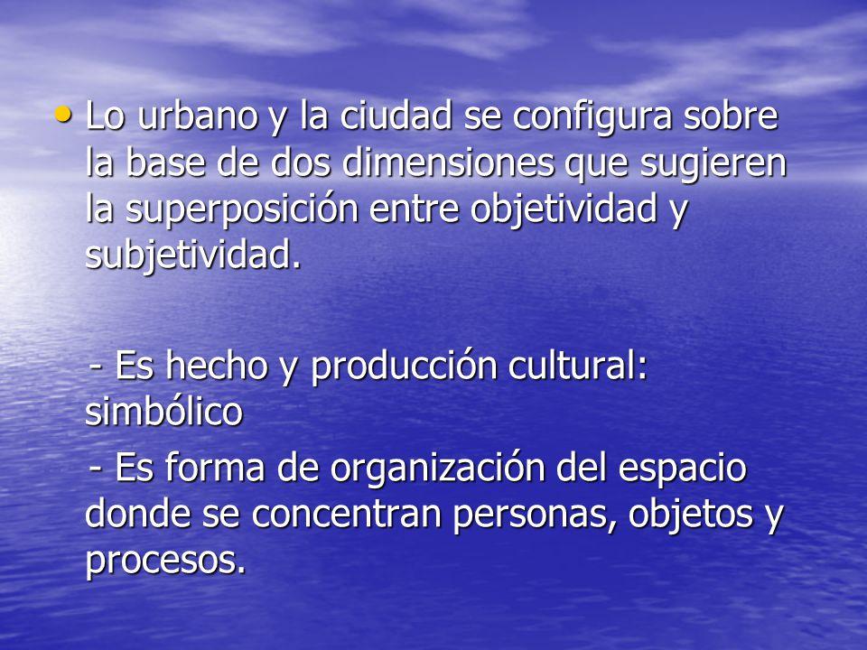 Lo urbano y la ciudad se configura sobre la base de dos dimensiones que sugieren la superposición entre objetividad y subjetividad.