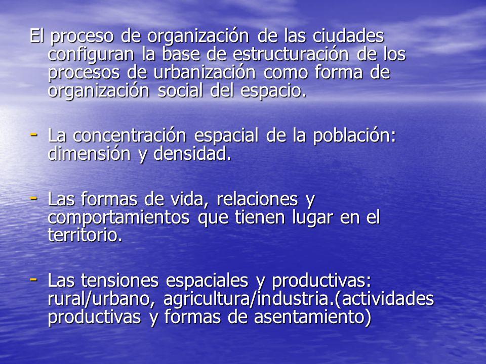El proceso de organización de las ciudades configuran la base de estructuración de los procesos de urbanización como forma de organización social del espacio.