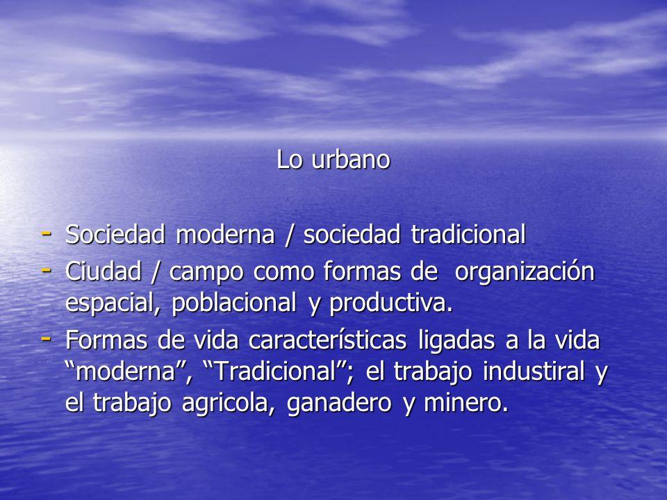 Lo urbano Sociedad moderna / sociedad tradicional. Ciudad / campo como formas de organización espacial, poblacional y productiva.