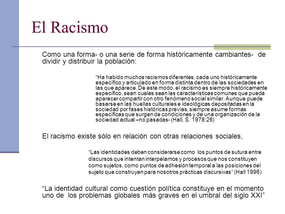 El Racismo Como una forma- o una serie de forma históricamente cambiantes- de dividir y distribuir la población:
