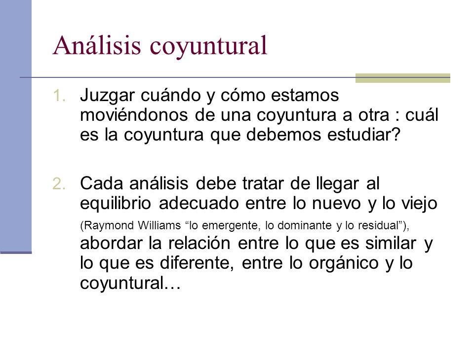 Análisis coyuntural Juzgar cuándo y cómo estamos moviéndonos de una coyuntura a otra : cuál es la coyuntura que debemos estudiar