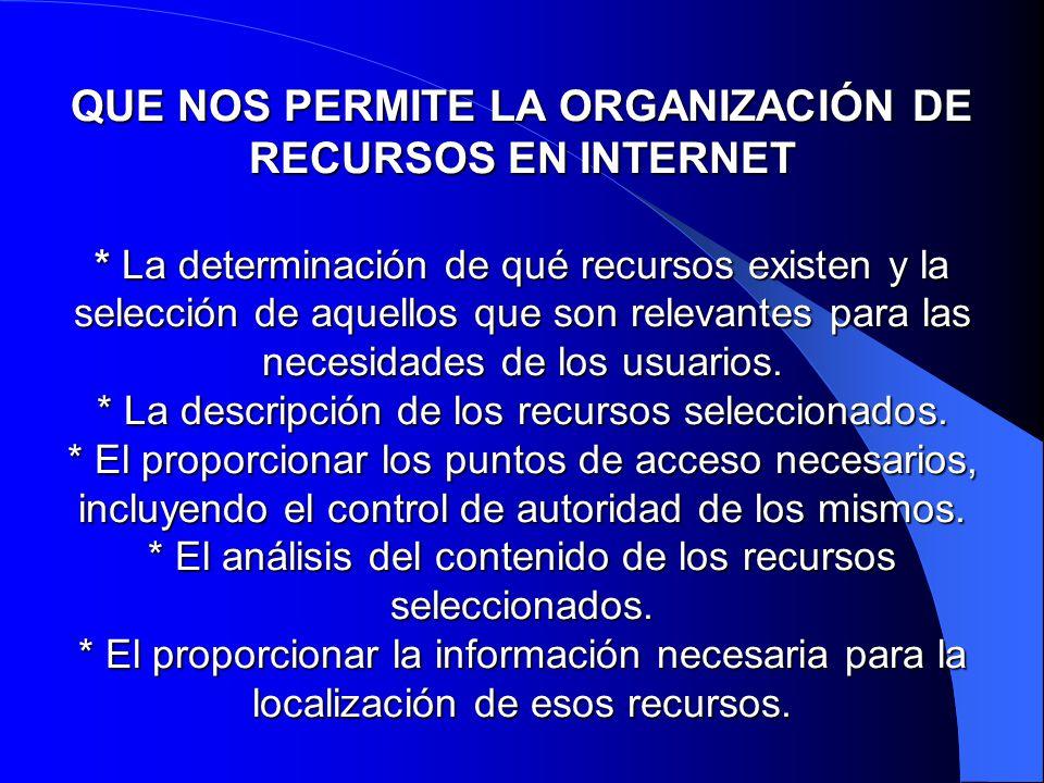 QUE NOS PERMITE LA ORGANIZACIÓN DE RECURSOS EN INTERNET