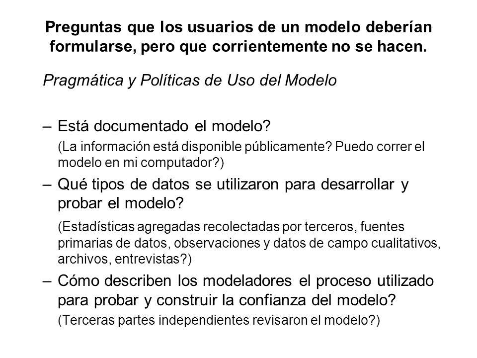 Pragmática y Políticas de Uso del Modelo Está documentado el modelo