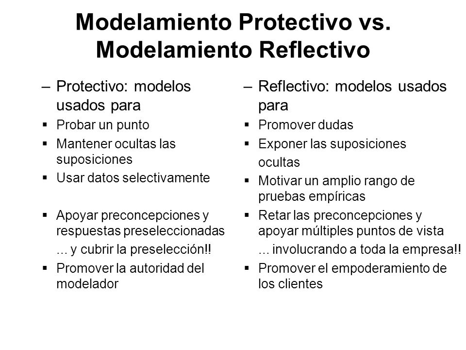 Modelamiento Protectivo vs. Modelamiento Reflectivo