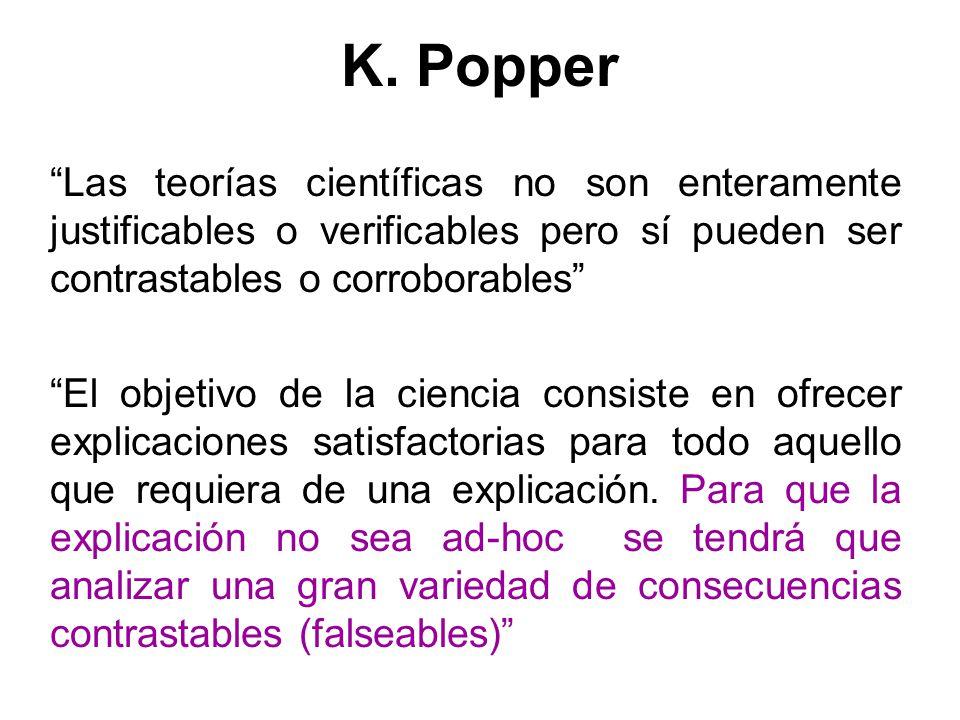 K. Popper Las teorías científicas no son enteramente justificables o verificables pero sí pueden ser contrastables o corroborables