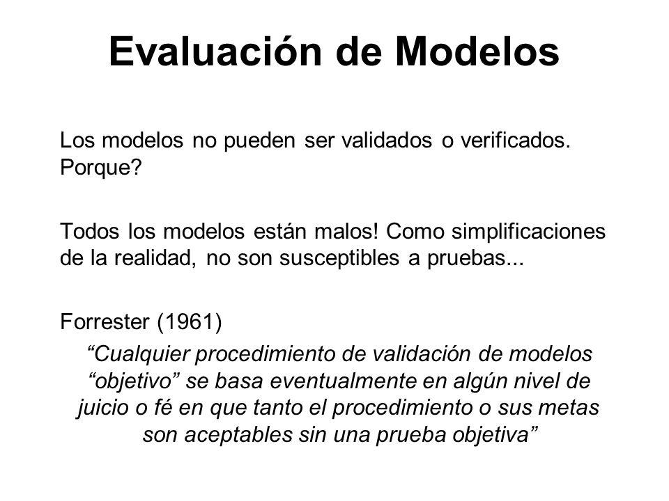 Evaluación de Modelos Los modelos no pueden ser validados o verificados. Porque