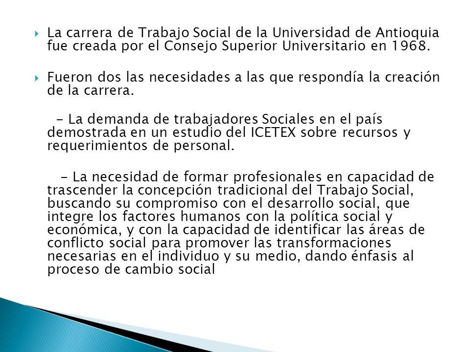 La carrera de Trabajo Social de la Universidad de Antioquia fue creada por el Consejo Superior Universitario en 1968.