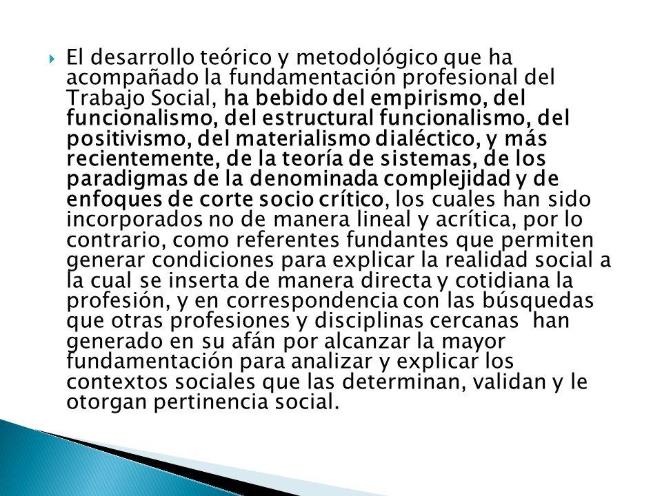 El desarrollo teórico y metodológico que ha acompañado la fundamentación profesional del Trabajo Social, ha bebido del empirismo, del funcionalismo, del estructural funcionalismo, del positivismo, del materialismo dialéctico, y más recientemente, de la teoría de sistemas, de los paradigmas de la denominada complejidad y de enfoques de corte socio crítico, los cuales han sido incorporados no de manera lineal y acrítica, por lo contrario, como referentes fundantes que permiten generar condiciones para explicar la realidad social a la cual se inserta de manera directa y cotidiana la profesión, y en correspondencia con las búsquedas que otras profesiones y disciplinas cercanas han generado en su afán por alcanzar la mayor fundamentación para analizar y explicar los contextos sociales que las determinan, validan y le otorgan pertinencia social.