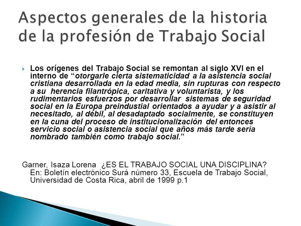 Aspectos generales de la historia de la profesión de Trabajo Social