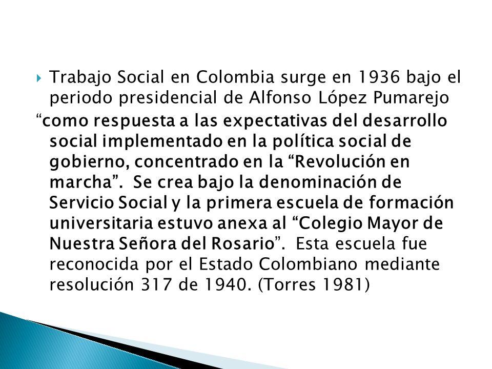 Trabajo Social en Colombia surge en 1936 bajo el periodo presidencial de Alfonso López Pumarejo