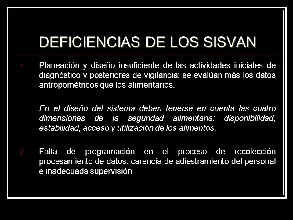 DEFICIENCIAS DE LOS SISVAN