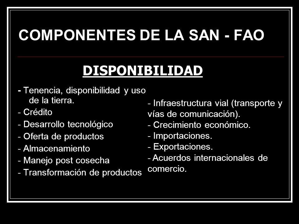 COMPONENTES DE LA SAN - FAO