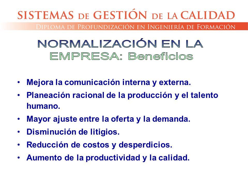 NORMALIZACIÓN EN LA EMPRESA: Beneficios. Mejora la comunicación interna y externa. Planeación racional de la producción y el talento humano.