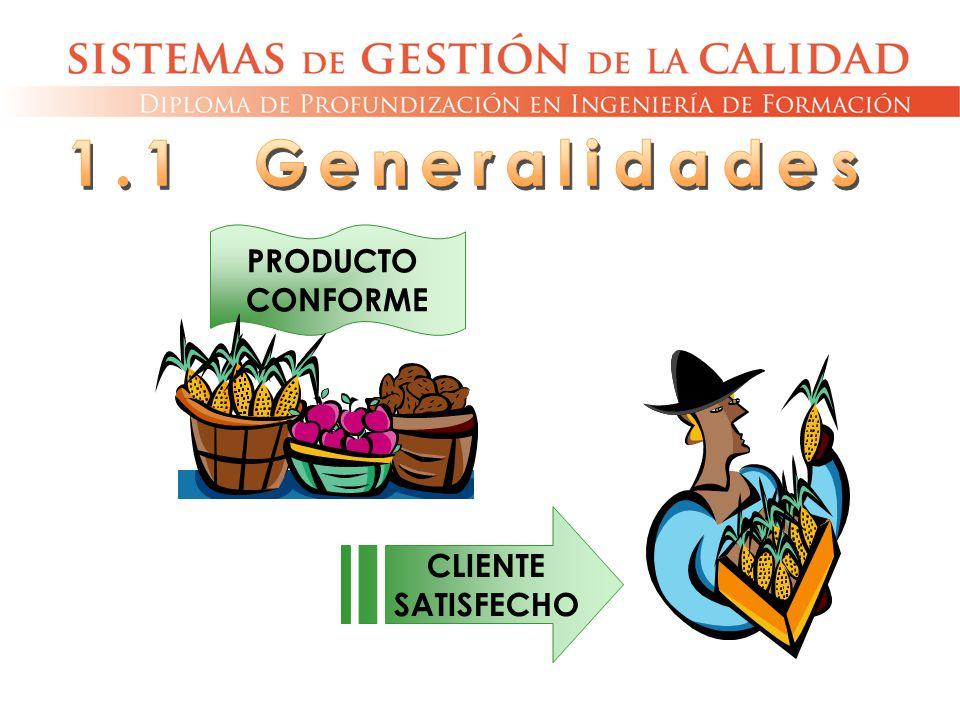 1.1 Generalidades PRODUCTO CONFORME CLIENTE SATISFECHO