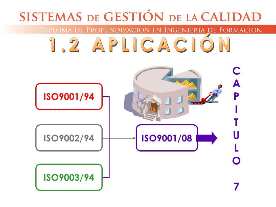 1.2 APLICACIÓN C A P I T U L O 7 ISO9001/94 ISO9002/94 ISO9003/94