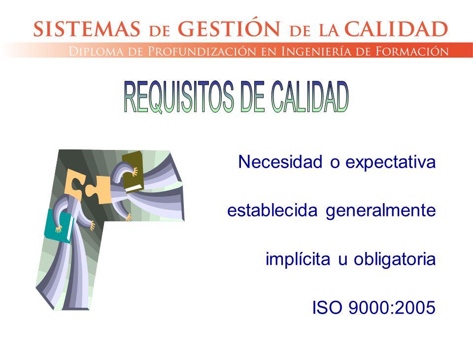 REQUISITOS DE CALIDAD Necesidad o expectativa establecida generalmente implícita u obligatoria.