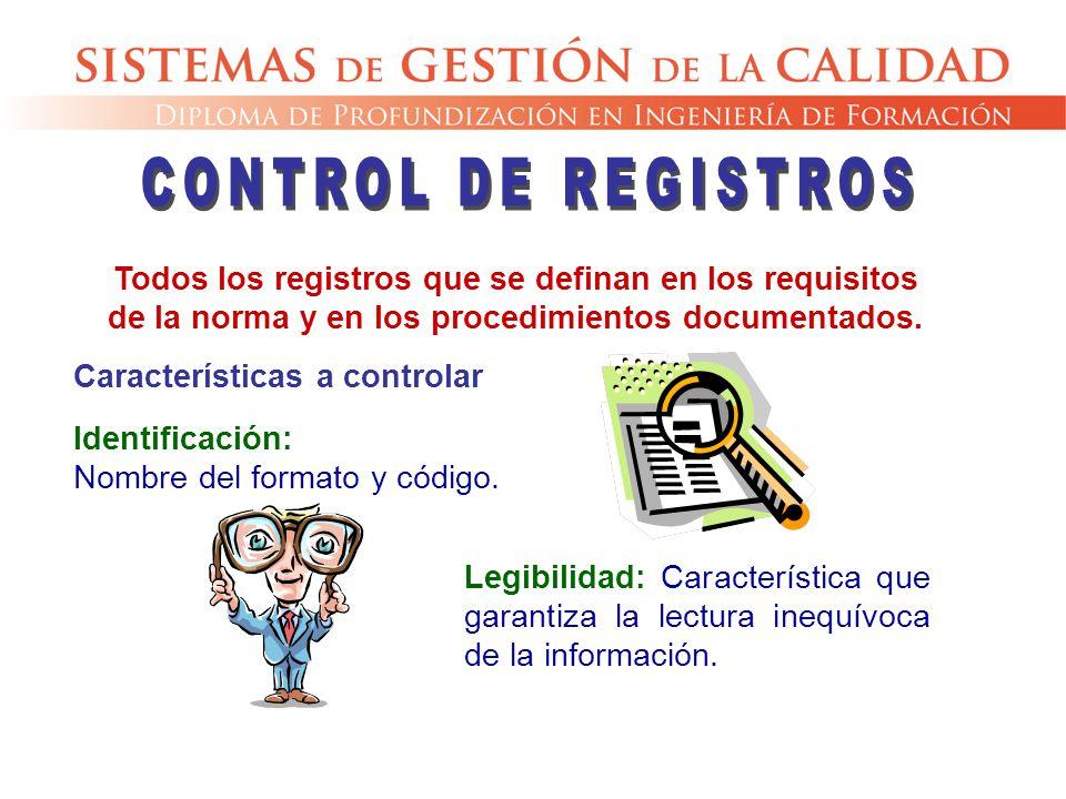 CONTROL DE REGISTROS Todos los registros que se definan en los requisitos de la norma y en los procedimientos documentados.