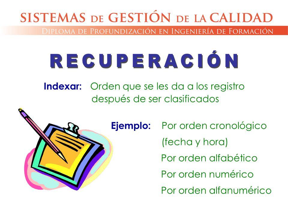 RECUPERACIÓN Indexar: Orden que se les da a los registro