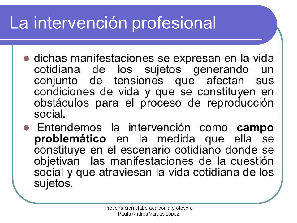 La intervención profesional