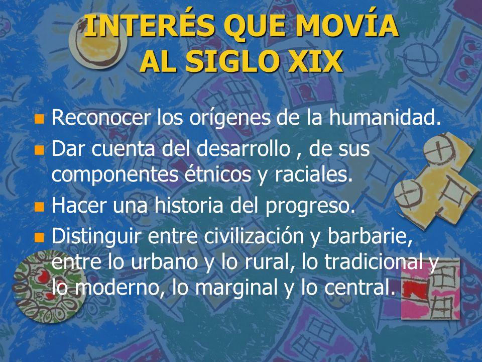 INTERÉS QUE MOVÍA AL SIGLO XIX