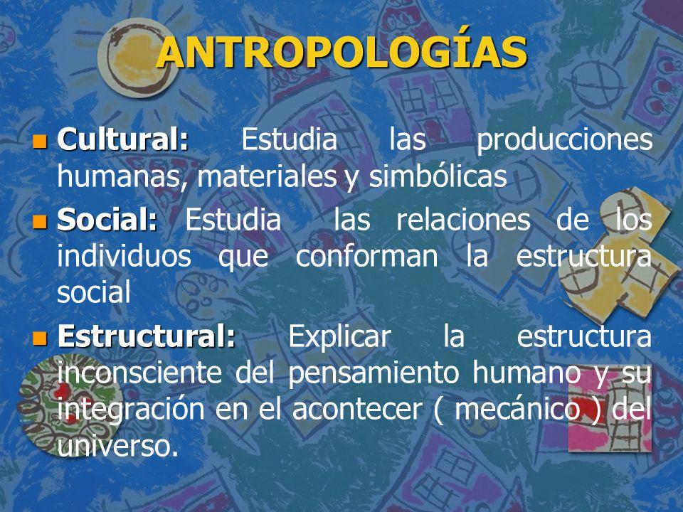 ANTROPOLOGÍAS Cultural: Estudia las producciones humanas, materiales y simbólicas.