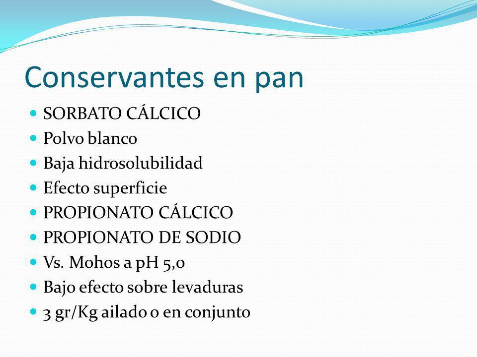 Conservantes en pan SORBATO CÁLCICO Polvo blanco Baja hidrosolubilidad