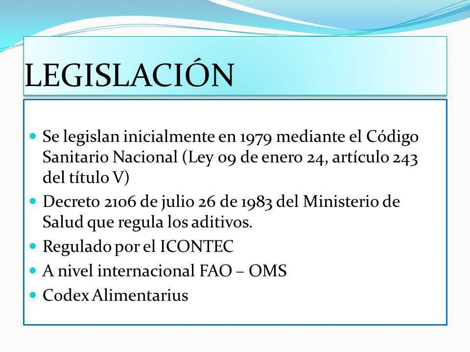 LEGISLACIÓN Se legislan inicialmente en 1979 mediante el Código Sanitario Nacional (Ley 09 de enero 24, artículo 243 del título V)