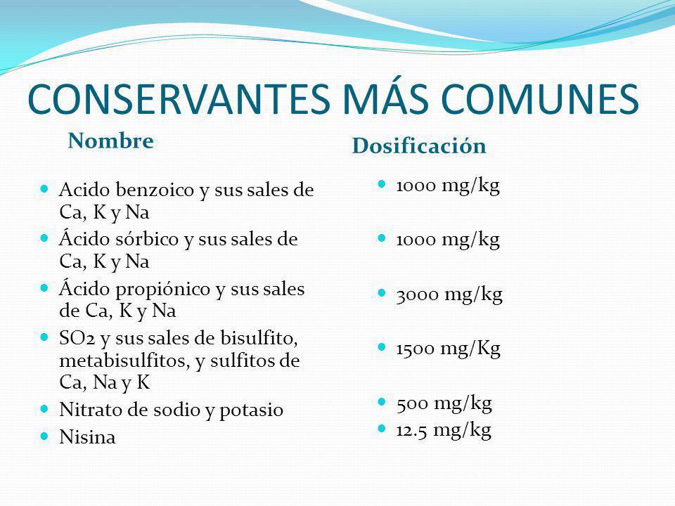 CONSERVANTES MÁS COMUNES