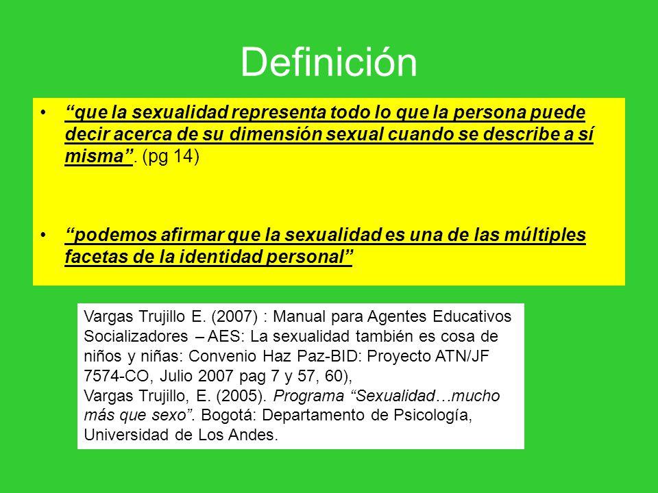 Definición que la sexualidad representa todo lo que la persona puede decir acerca de su dimensión sexual cuando se describe a sí misma . (pg 14)