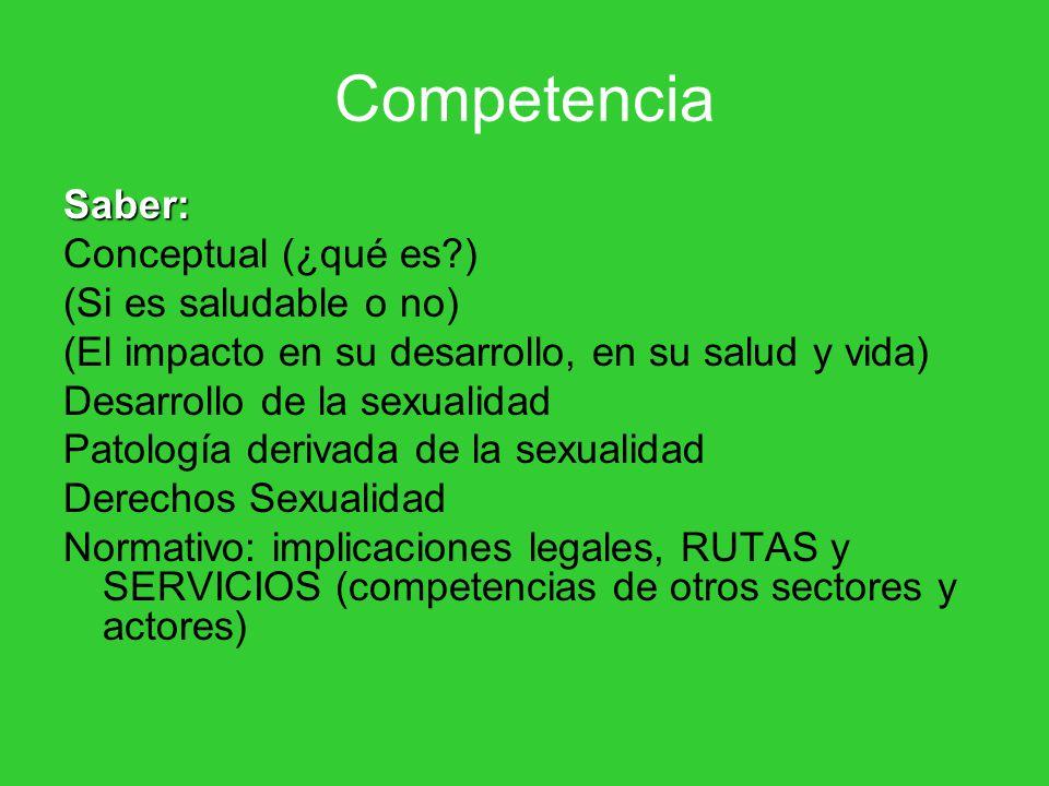 Competencia Saber: Conceptual (¿qué es ) (Si es saludable o no)