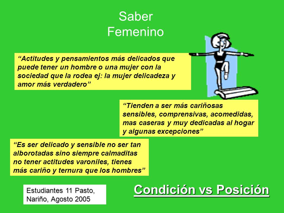 Saber Femenino Condición vs Posición