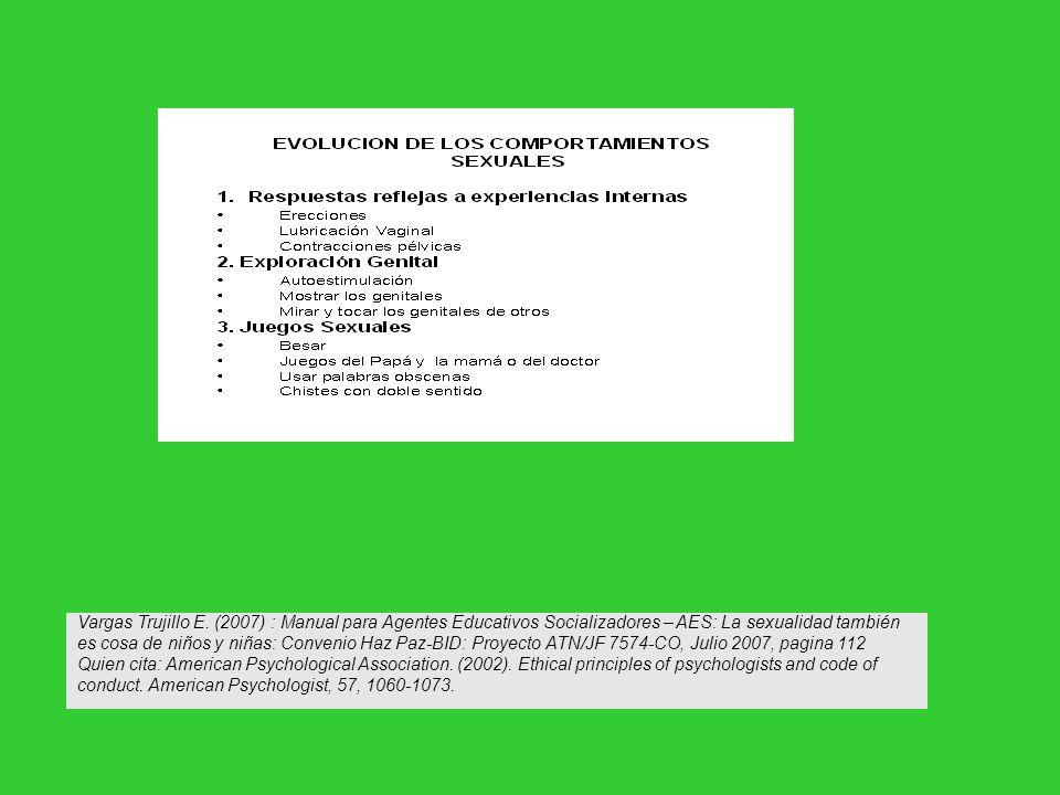 Vargas Trujillo E. (2007) : Manual para Agentes Educativos Socializadores – AES: La sexualidad también es cosa de niños y niñas: Convenio Haz Paz-BID: Proyecto ATN/JF 7574-CO, Julio 2007, pagina 112