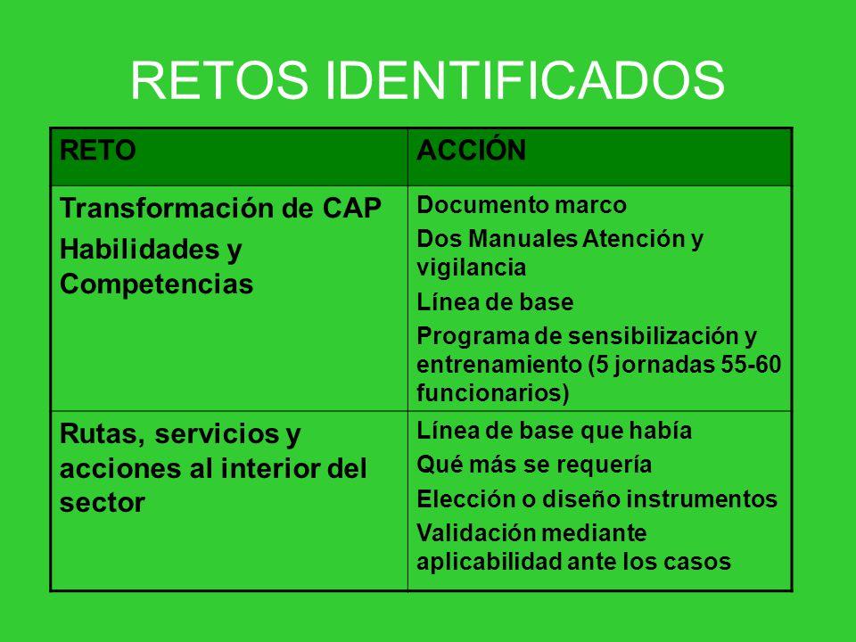 RETOS IDENTIFICADOS RETO ACCIÓN Transformación de CAP