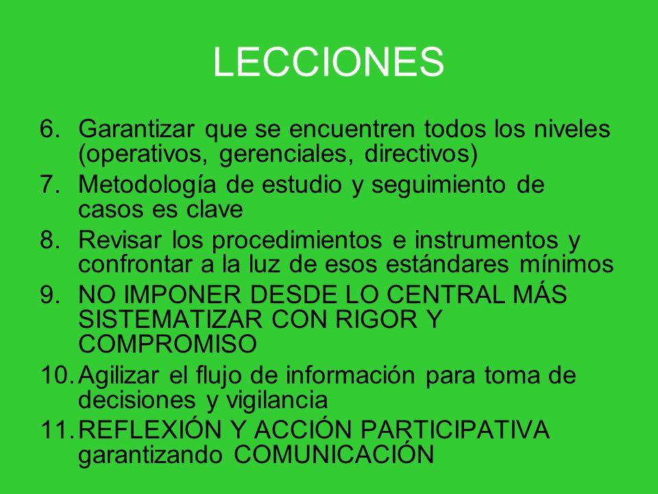 LECCIONES Garantizar que se encuentren todos los niveles (operativos, gerenciales, directivos)