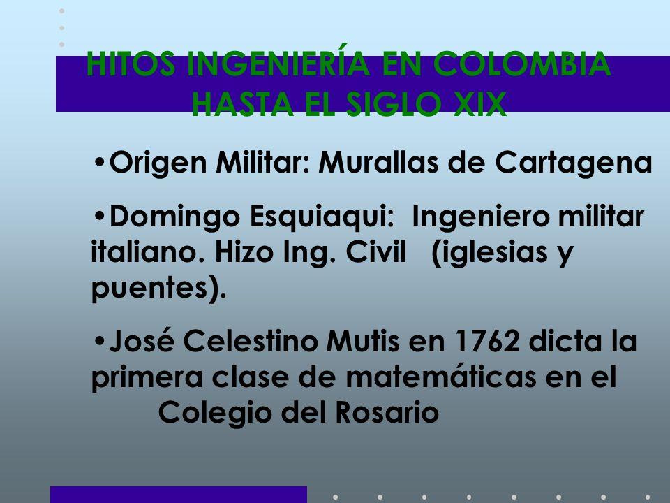 HITOS INGENIERÍA EN COLOMBIA HASTA EL SIGLO XIX