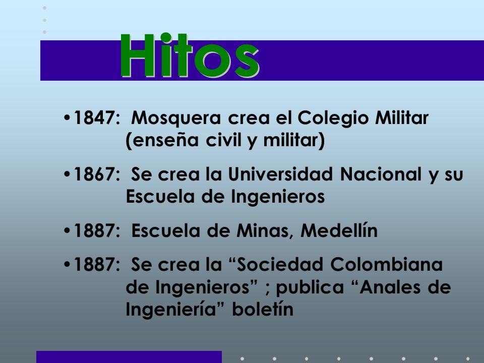 Hitos 1847: Mosquera crea el Colegio Militar (enseña civil y militar)