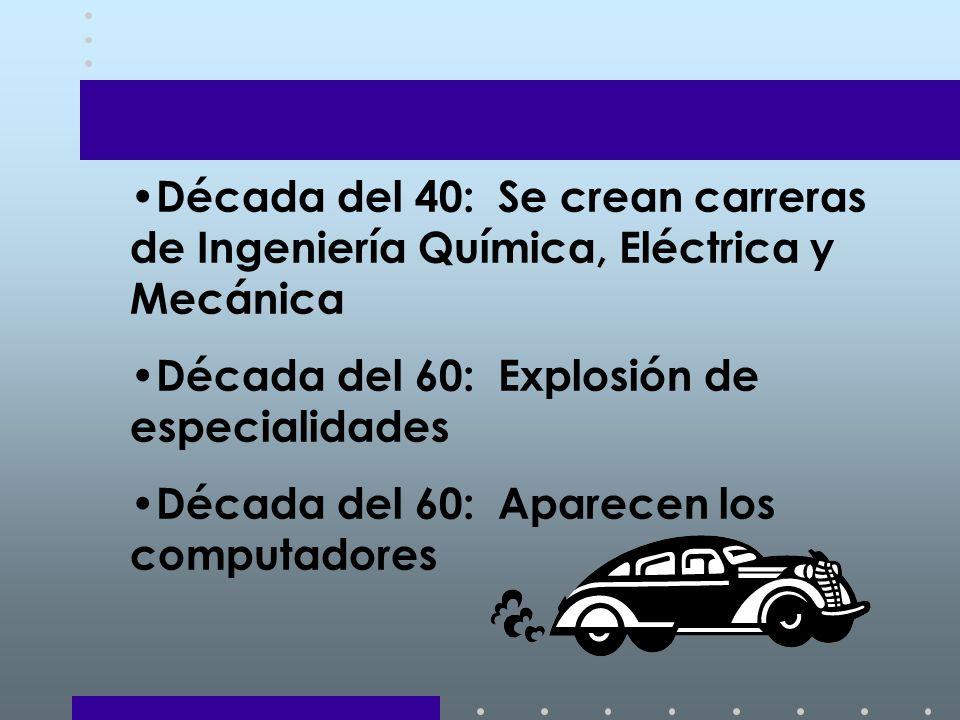 Década del 40: Se crean carreras de Ingeniería Química, Eléctrica y Mecánica
