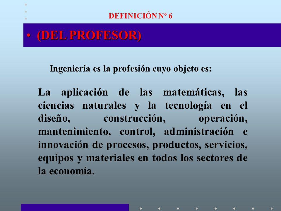 DEFINICIÓN Nº 6 (DEL PROFESOR) Ingeniería es la profesión cuyo objeto es: