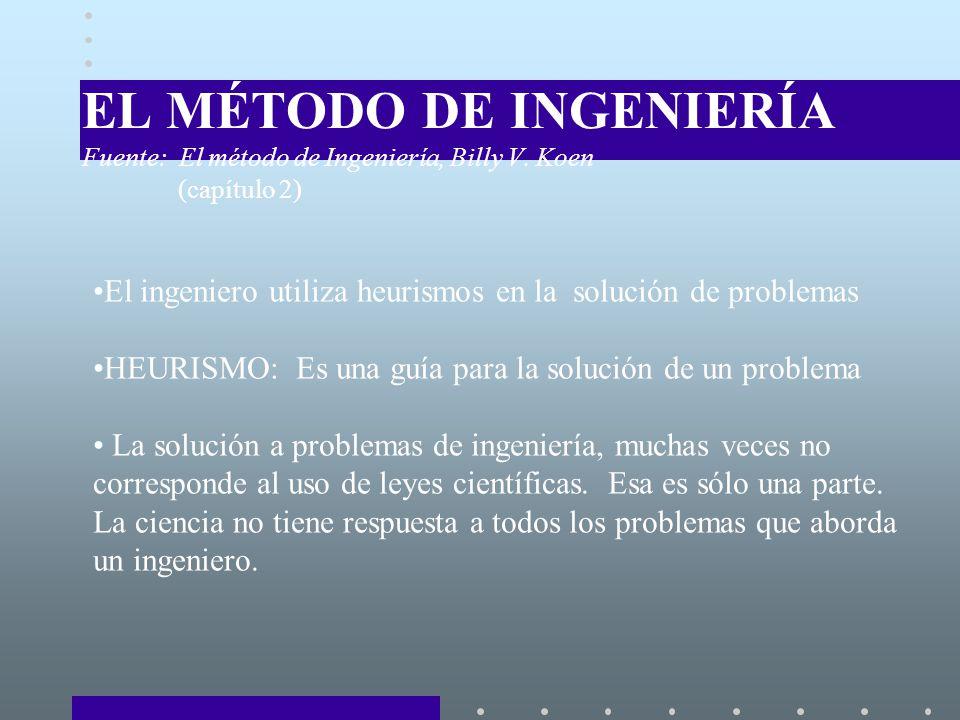 EL MÉTODO DE INGENIERÍA Fuente: El método de Ingeniería, Billy V. Koen
