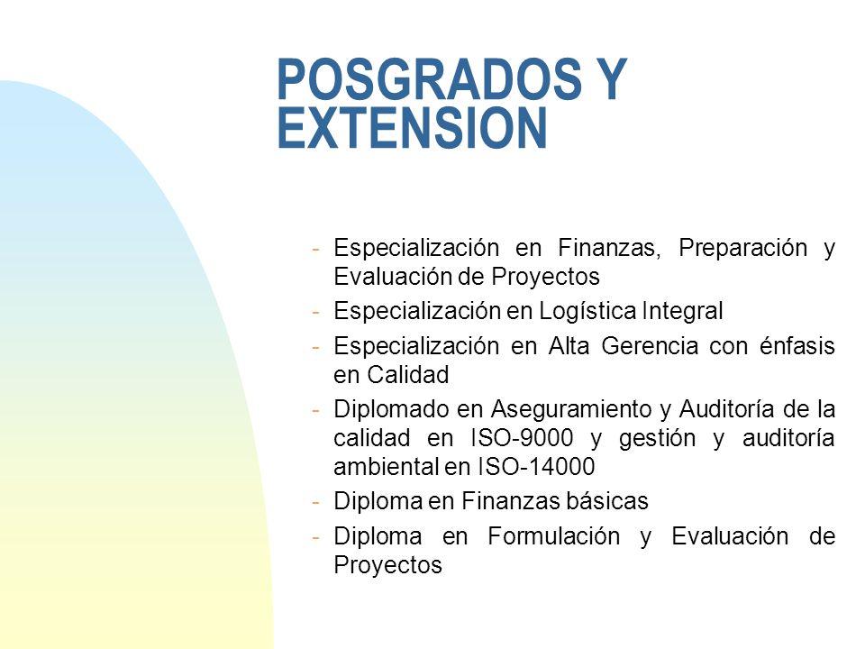 POSGRADOS Y EXTENSION Especialización en Finanzas, Preparación y Evaluación de Proyectos. Especialización en Logística Integral.