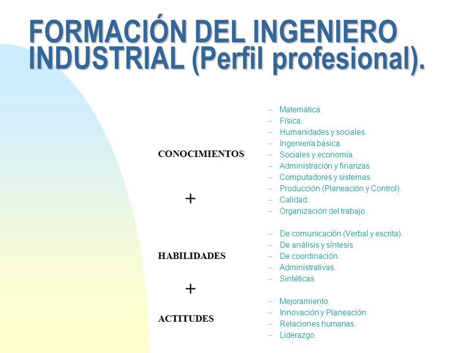 FORMACIÓN DEL INGENIERO INDUSTRIAL (Perfil profesional).