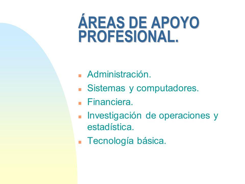 ÁREAS DE APOYO PROFESIONAL.