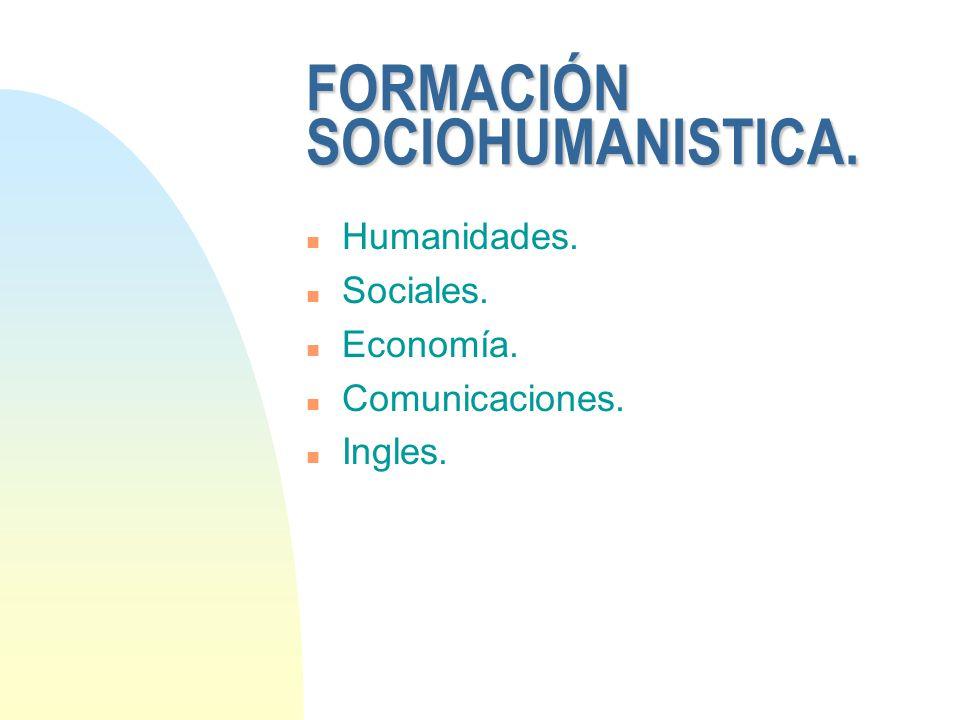FORMACIÓN SOCIOHUMANISTICA.