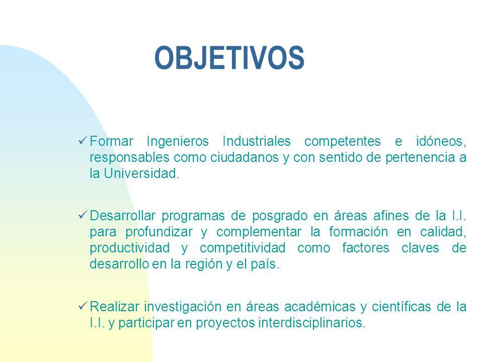 OBJETIVOS Formar Ingenieros Industriales competentes e idóneos, responsables como ciudadanos y con sentido de pertenencia a la Universidad.