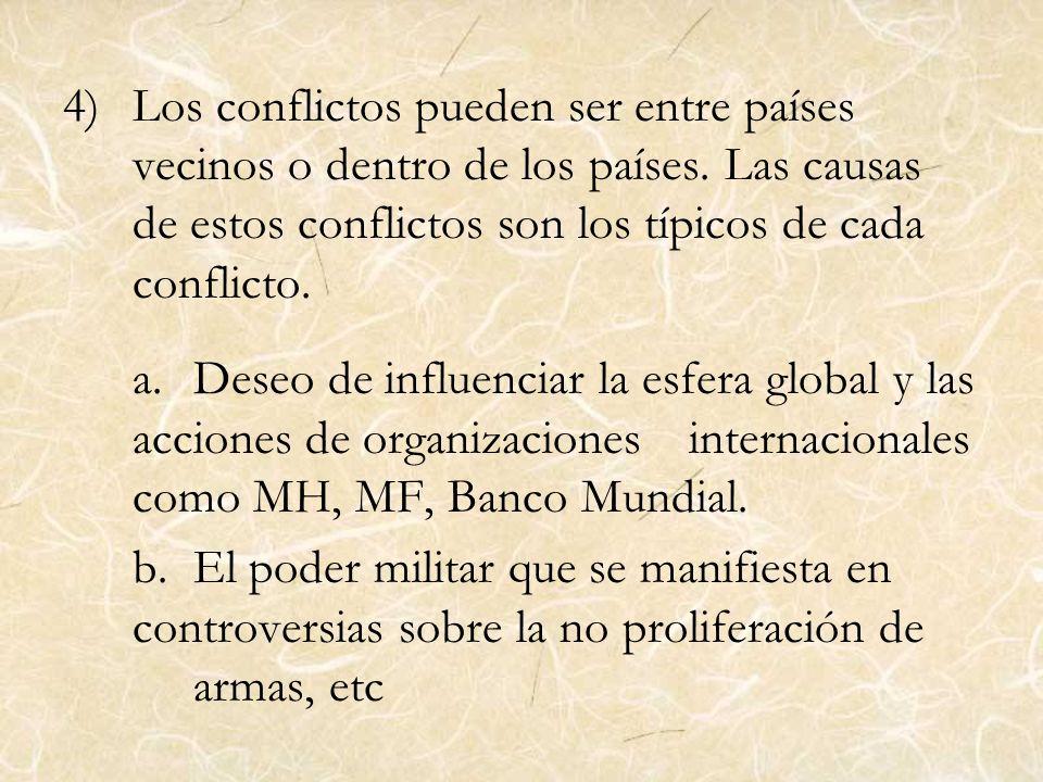 Los conflictos pueden ser entre países vecinos o dentro de los países