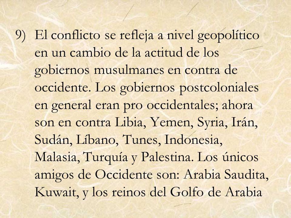 El conflicto se refleja a nivel geopolítico en un cambio de la actitud de los gobiernos musulmanes en contra de occidente.
