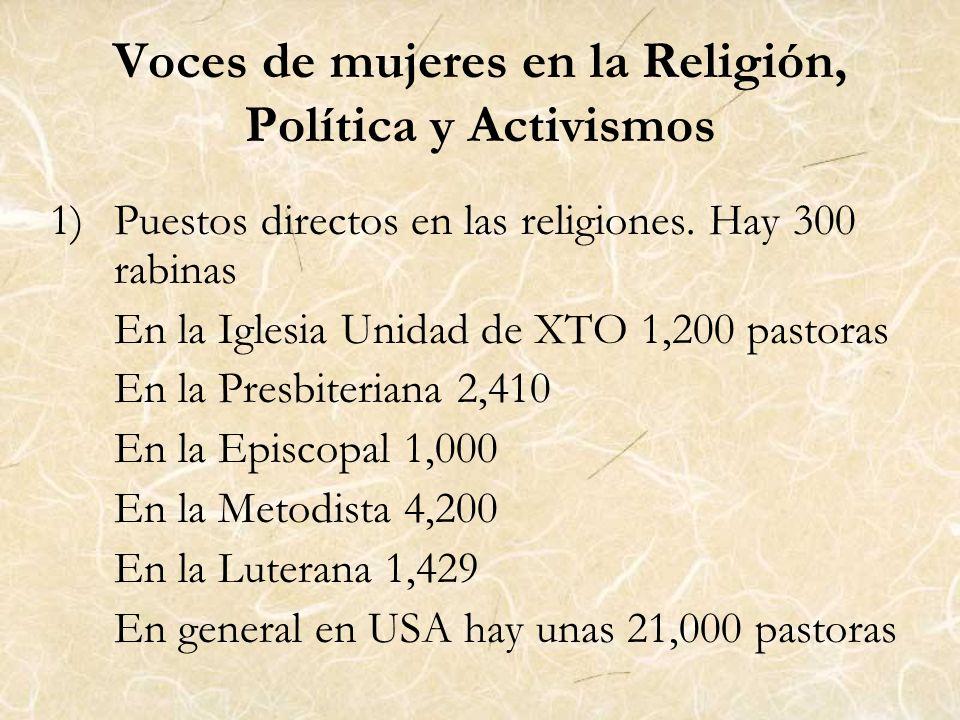 Voces de mujeres en la Religión, Política y Activismos