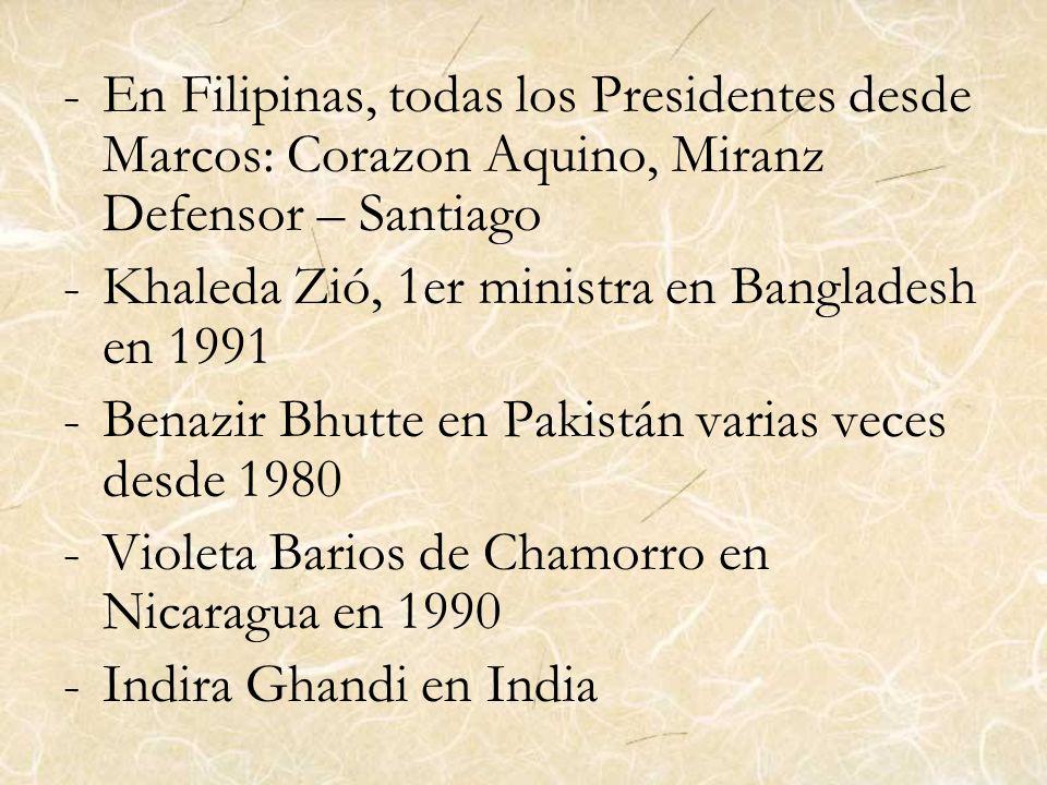 En Filipinas, todas los Presidentes desde Marcos: Corazon Aquino, Miranz Defensor – Santiago